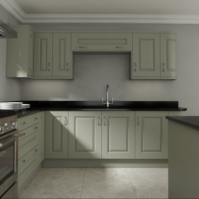 Sage Green Kitchen With White Cabinets: Elite Trade & Contact Kitchens
