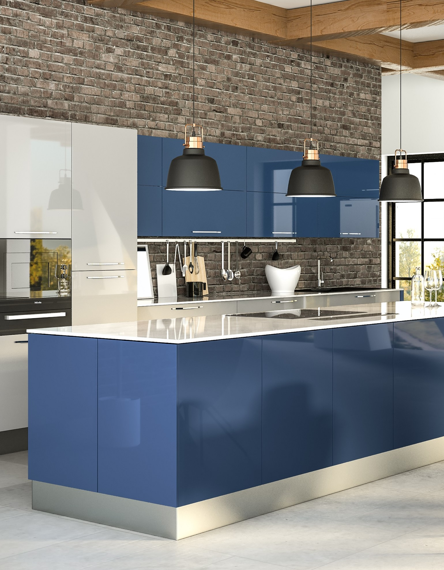 Ultragloss Baltic Blue Ultragloss Light Grey Kitchen